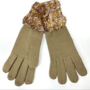 Fownes Knit Faux Fur Gloves Tan One Size NWOT